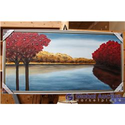 """Serene Landscape"" Hand Painted On Gallery Wrapped Canvas With Floating Frame, 30""x60"""