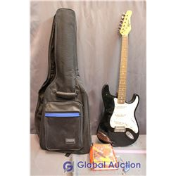 Robson Full Size Electric Guitar W/ Soft Case, Bass Guitar Book And Guitar DVD, And Pitch Keychain
