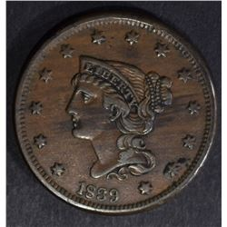 1839 BRAIDED HAIR LARGE CENT, XF
