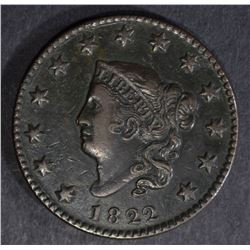 1822 LARGE CENT, XF