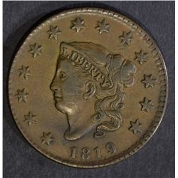 1819 LARGE CENT, XF/AU