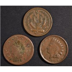 (3) PATRIOTIC CIVIL WAR TOKENS