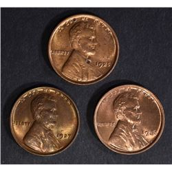 1925, 26, 27 LINCOLN CENTS CH BU RED-RED BROWN