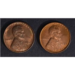 1931 & 32 LINCOLN CENTS CH BU RB