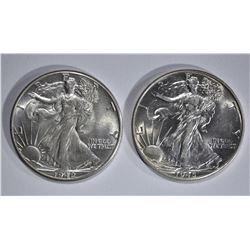 1942 & 45 WALKING LIBERTY HALVES BU