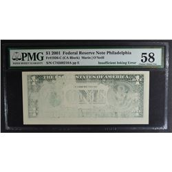 2001 $1 FEDERAL RESERVE NOTE PHILADELPHIA