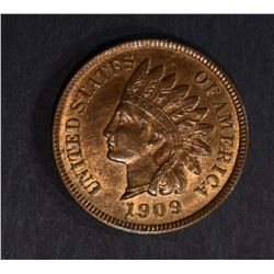 1909 INDIAN CENT, CH BU RB A LOT OF RED