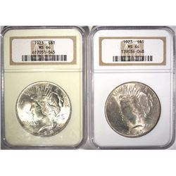 2- 1923 PEACE SILVER DOLLARS, NGC MS64