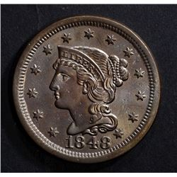1848 LARGE CENT, CH BU CLEANING AT SOME POINT