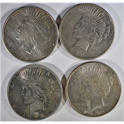 4 - PEACE SILVER DOLLARS: 1922-D, 1923,