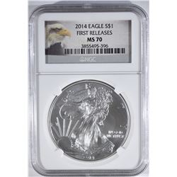 2014 AMERICAN SILVER EAGLE NGC MS70