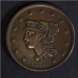 1840 LARGE CENT, XF+