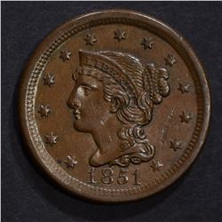 1851 LARGE CENT, AU scratch