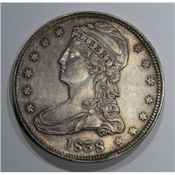 1838 REEDED EDGE CAPPED BUST HALF DOLLAR  CH BU