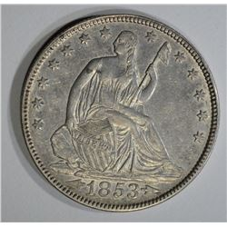 1853 ARROWS & RAYS SEATED LIBERTY HALF DOLLAR