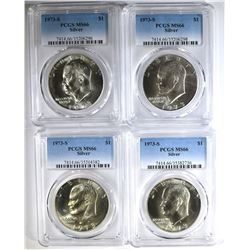 4 1973-S SILVER EISENHOWER DOLLARS, PCGS MS-66