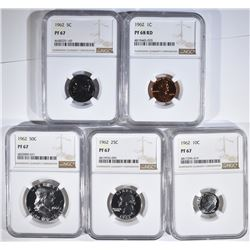 1962 PROOF SET, ALL COINS NGC GRADED