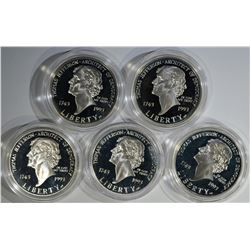 5 1993-S PROOF SILVER DOLLARS
