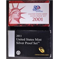 2001 & 2011 U.S. SILVER PROOF SETS ORIG PACKAGING