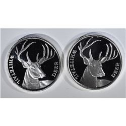 2-WHITETAIL DEER 1oz .999 SILVER ROUNDS
