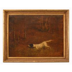 Early Hunting Dog Oil Painting