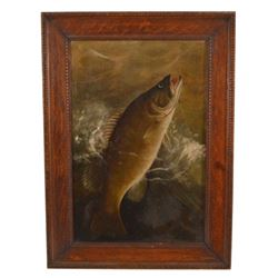 W. H. Wilkinson Small Mouth Bass Oil Painting