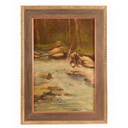 M. Pearson Anderson Fishing Scene Oil Painting