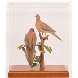 P. B. Holley Wood Carved Pair Mourning Dove Pair