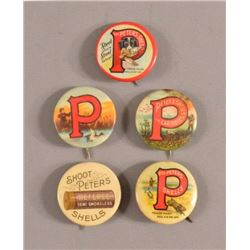 5 Peters Cartridge Co. Advertising Pinback Buttons