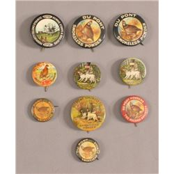10 Du Pont Smokeless Powders Pinback Buttons