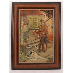 Hunting Scene Litho on Canvas