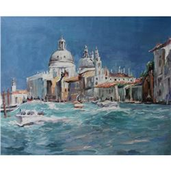 Signed Italian Impressionist Landscape Oil Painting, Venice