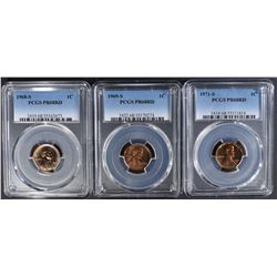 1968-S, 69-S, 71-S LINCOLN CENTS PCGS PR-68 RD