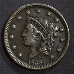 1838 LARGE CENT, XF