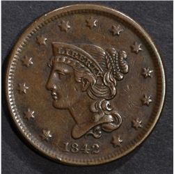 1842 LARGE CENT, XF