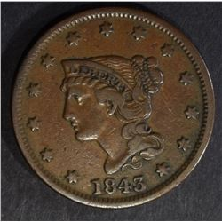 1843 LARGE CENT, CHOICE XF