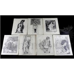 † A group of seven 1930's original professional hand drawn pencil artworks on card of various film a