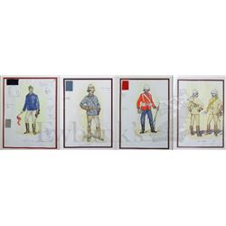 † Khartoum (1966) A group of four different original hand drawn military costume designs for Peter A