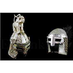 † Edward II (1970) A pair of ornate medieval style Soldier Helmets with fixed Eye Guard Visors. One