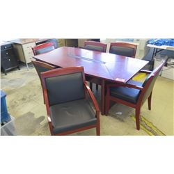 Wooden Conference Table (72 x 31.5 x 29.5) and 6 Chairs