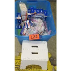 Plastic Bin w/ First-Aid Supplies and Step Stool