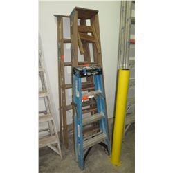 Qty 3 Ladders (2 wooden, 1 metal)