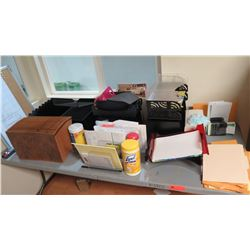 Contents of Table: Batteries, File Folder, Office Organization Trays