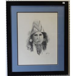 SEMINOLE INDIAN PENCIL SKETCH