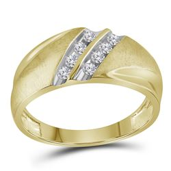 0.25 CTW Mens Diamond Ring 10KT Two-tone Gold - REF-30H2M