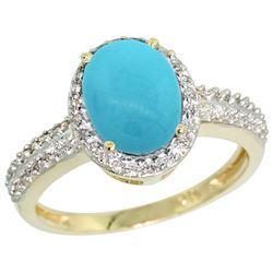 Natural 1.91 ctw Turquoise & Diamond Engagement Ring 14K Yellow Gold - REF-43K5R