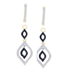 0.50 CTW Black Color Diamond Oval Dangle Earrings 10KT Yellow Gold - REF-41M9H