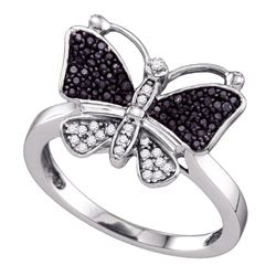0.25 CTW Black Color Diamond Butterfly Bug Ring 10KT White Gold - REF-22F4N