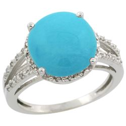 Natural 5.34 ctw Turquoise & Diamond Engagement Ring 14K White Gold - REF-60X2A