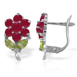 Genuine 2.12 ctw Peridot & Ruby Earrings Jewelry 14KT White Gold - REF-42Y7F